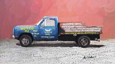 Digital Art - White Owl Truck by Stacy C Bottoms