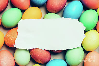 Photograph - White Paper Laying On Top Of Colorful Eggs. by Michal Bednarek