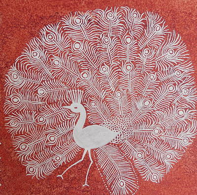 Painting - White Peacock Dance- Original Warli Painting by Aboli Salunkhe