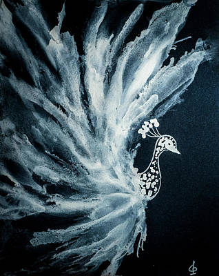 Mixed Media - White Peacock by Lilia D