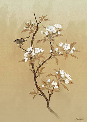 Mixed Media - White Pear Blossoms And Sparrow by IM Spadecaller