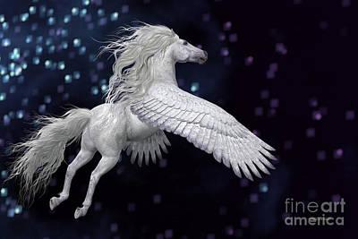 White Pegasus In Sky Art Print