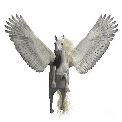 Greek Horse Digital Art - White Pegasus On White by Corey Ford