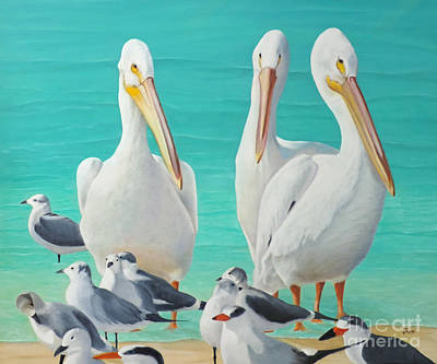 Painting - White Pelicans by Jimmie Bartlett