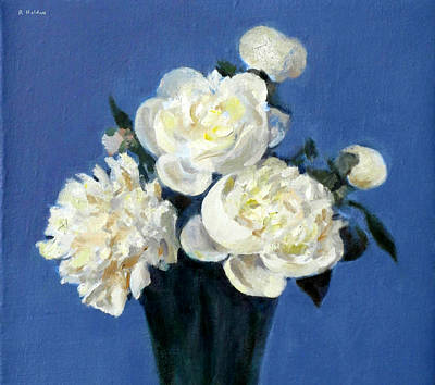 Painting - White Peonies Against A Deep Blue Background by Robert Holden