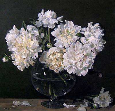 Snifter Painting - White Peonies Are Ready To Explode by Robert Holden