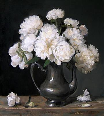 Painting - White Peonies Effulgent In Silver Coffeepot by Robert Holden