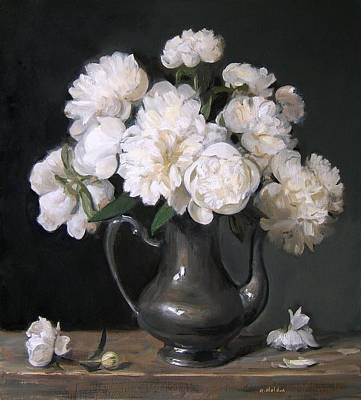 Painting - White Peonies Effulgent by Robert Holden