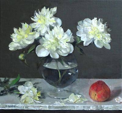 Snifter Painting - White Peonies In A Snifter With Peach by Robert Holden