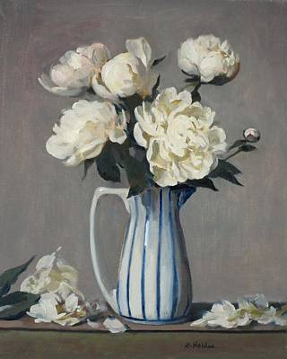 Painting - White Peonies In Blue-striped Vase by Robert Holden