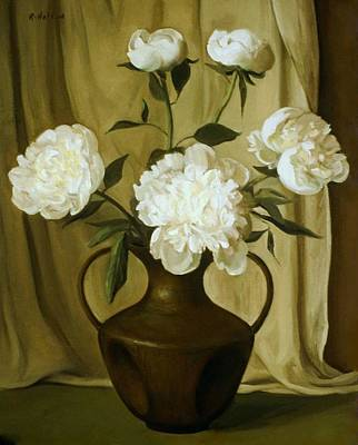 Painting - White Peonies In Bronze Chinese Vase by Robert Holden