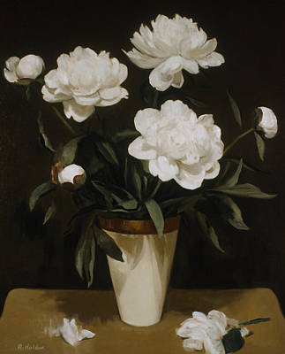 Painting - White Peonies In Cone-shaped Vase by Robert Holden