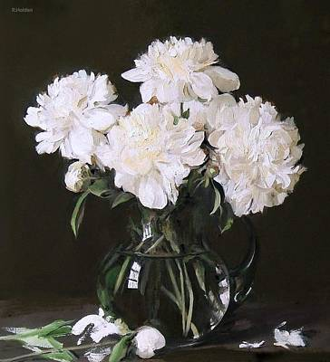 Painting - White Peonies In Full Bloom In Glass Pitcher, Dark Background by Robert Holden