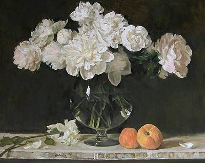 Painting - White Peonies In Giant Snifter With Peaches, An Option by Robert Holden