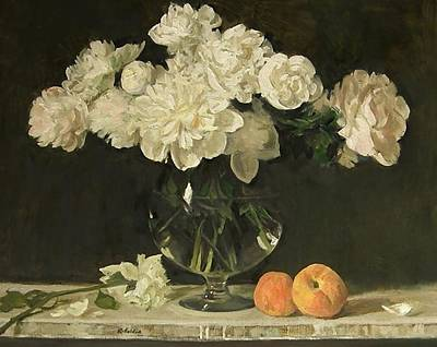 White Peonies In Giant Snifter With Peaches Art Print