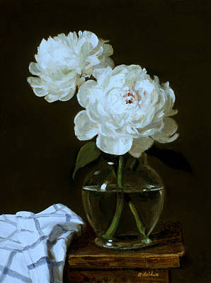 Painting - White Peonies In Glass Vase On Wooden Stepstool by Robert Holden