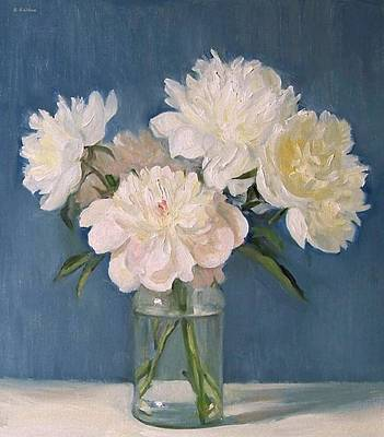 Painting - White Peonies In Spaghetti Jar by Robert Holden