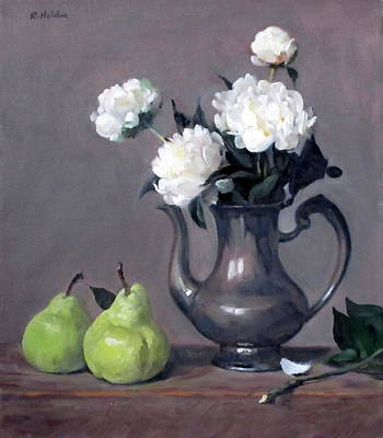 Painting - White Peonies In Silver Coffeepot, Pears by Robert Holden