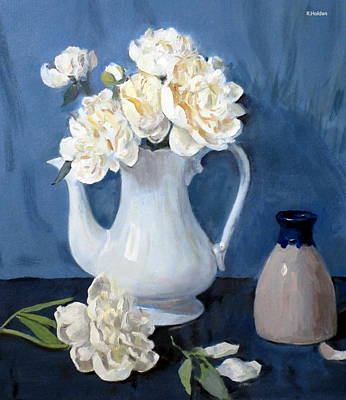 Painting - White Peonies In White Coffeepot, Pottery With Blue Top by Robert Holden