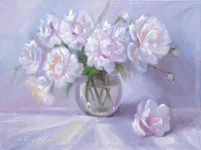 Declaration Of Love Painting - White Peonies by Irina Bakhareva