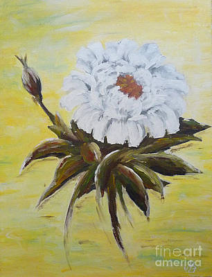 Spring Party Painting - White Peony by Birgit Moldenhauer