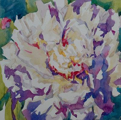 Wall Art - Painting - White Peony In Contrast  by Jo Mackenzie