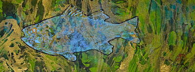 White Perch On Marbleized Paper Original by Jeffrey Canha