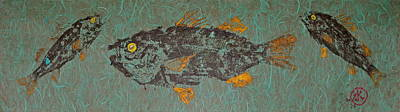 Mixed Media - White  Perch With Yellow Perch by Jeffrey Canha