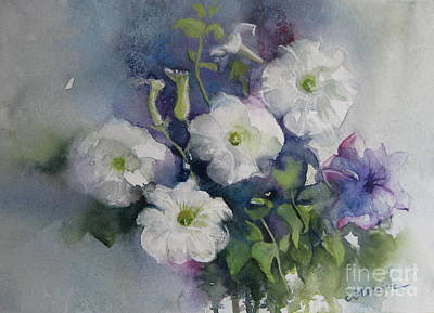 Painting - White Petunias by Elena Oleniuc