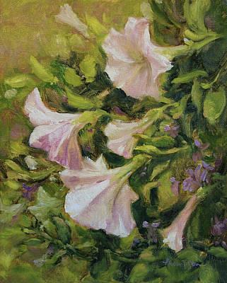 Petunia Painting - White Petunias by Tracie Thompson