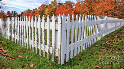Photograph - White Picket Fence Etna New Hampshire Fall Foliage by Edward Fielding