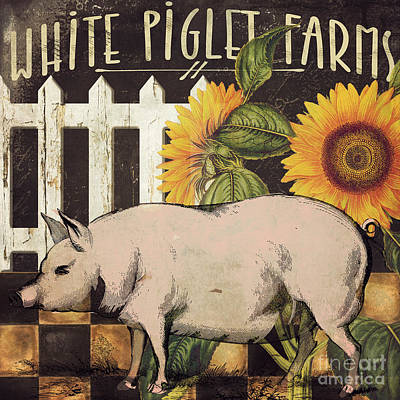 Pink Pigs Painting - White Piglet Farms by Mindy Sommers