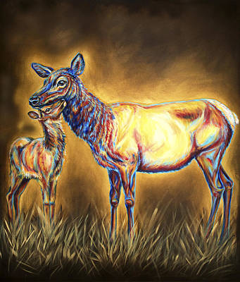 Elk Painting - White Pine Sanctuary Cow And Calf by Teshia Art