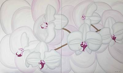 Painting - White Pink Orchide by Marinella Owens