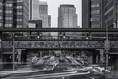Photograph - White Plains Traffic Light Trails II by Clarence Holmes