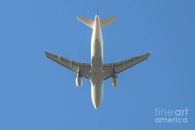 Photograph - White Plane In The Sky by Benny Marty