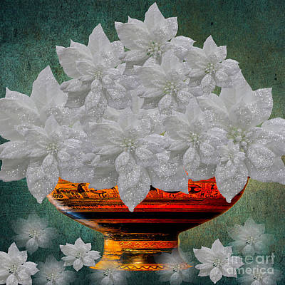 Photograph - White Poinsettias In A Bowl by Saundra Myles