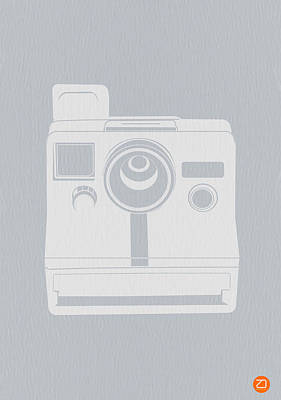 Retro Photograph - White Polaroid Camera by Naxart Studio