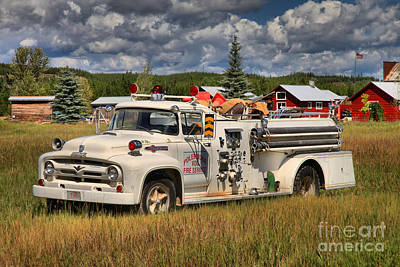 Photograph - White Polebridge Fire Truck by Adam Jewell