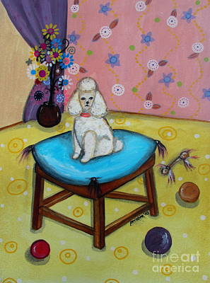 Painting - White Poodle by Pristine Cartera Turkus