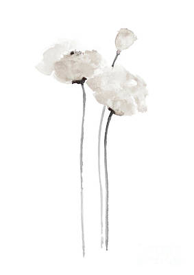 White Poppy Minimalist Wall Decoration, Floral Painting  Art Print by Joanna Szmerdt