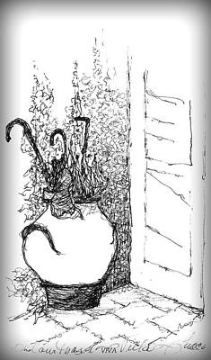 Drawing - White Pot In Doorway by VIVA Anderson