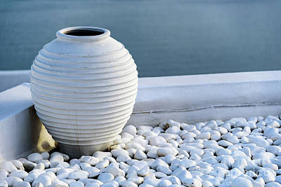 Photograph - White Pot Sitting In White Stones In Oia, Santorini, Greece by Global Light Photography - Nicole Leffer