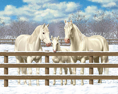 Quarter Horse Painting - White Quarter Horses In Snow by Crista Forest