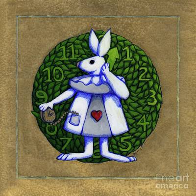 Mixed Media - White Rabbit Alice by Donna Huntriss
