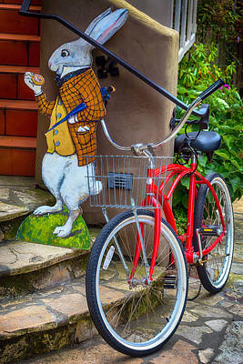 Handlebar Photograph - White Rabbit And Bike by Garry Gay