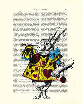 Trumpet Digital Art - White Rabbit Blows His Trumpet Three Times Alice In Wondreland by Madame Memento