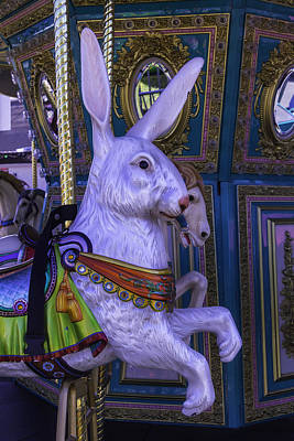 White Rabbit Carrousel Ride Art Print by Garry Gay