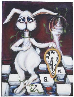 White Rabbit Art Print by Cathi Doherty