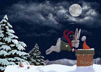 Digital Art - White Rabbit Christmas by Audra Lemke